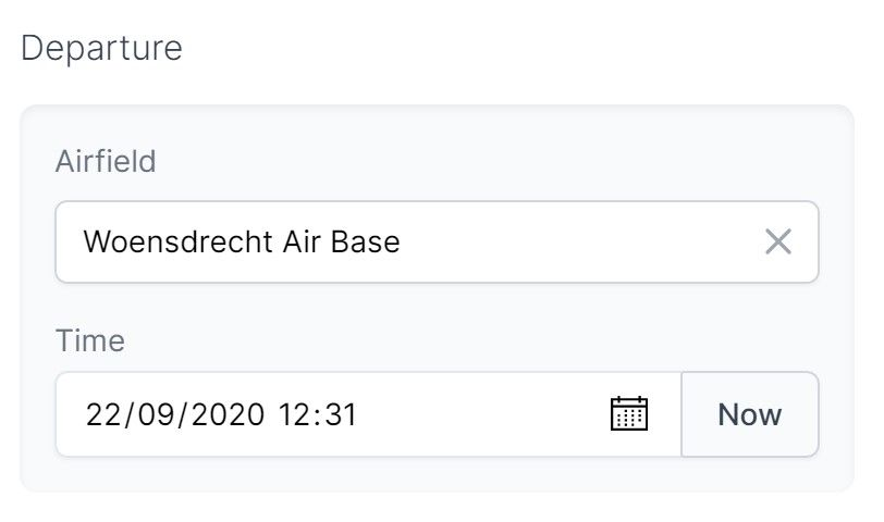 A form meant to enter (flight) departure information with two elements (departure airfield, and departure time), grouped visually together with an inner shadow.