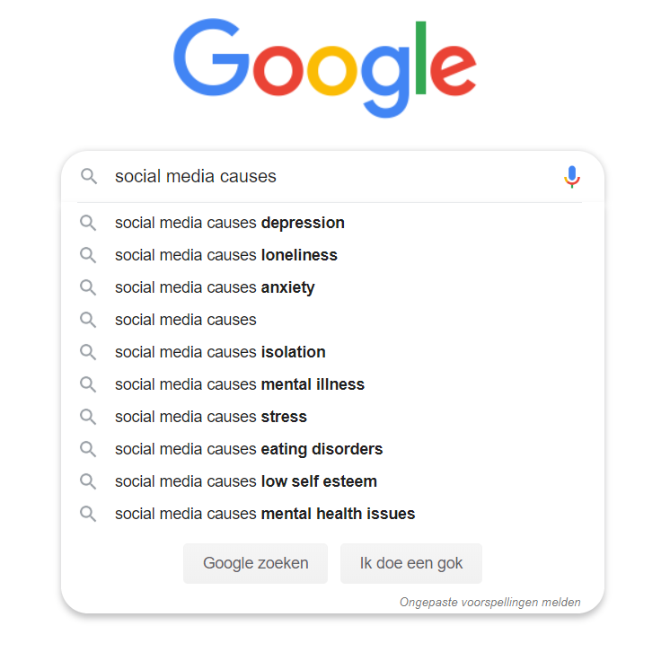 Search results when searching for 'social media causes' with Google